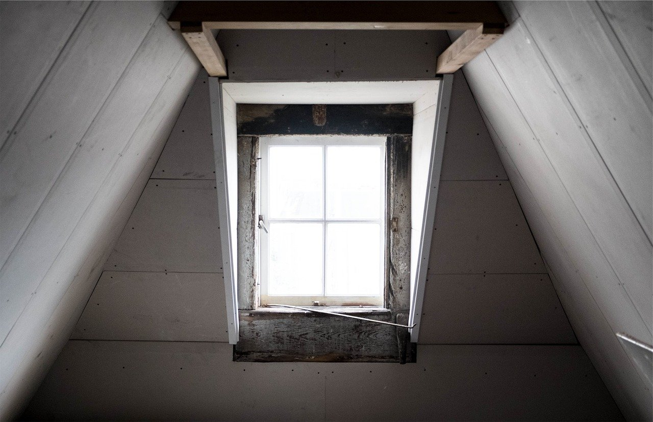 window, attic, wood